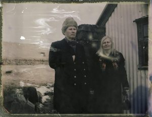 old couple and a traditional turf house farm in Iceland Fine art Polaroid photography by Guðmundur Óli Pálmason kuggur.com