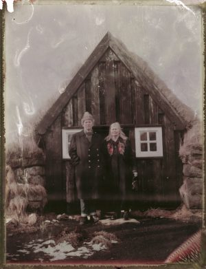 old cople and a traditional turf house farm in Iceland Fine art Polaroid photography by Guðmundur Óli Pálmason kuggur.com turf