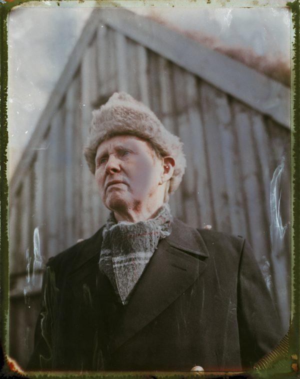 old man and a traditional turf house farm in Iceland Fine art Polaroid photography by Guðmundur Óli Pálmason kuggur.com turf
