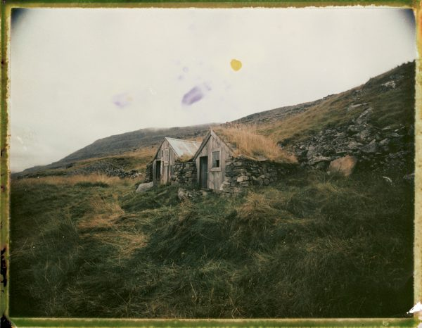 abandoned traditional Icelandic turf house farm