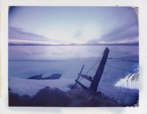 A very cold but beautiful sunrise on a winter morning at the frozen Mývatn, north Iceland, February 2020 Fine art Polaroid photography by Guðmundur Óli Pálmason kuggur.com