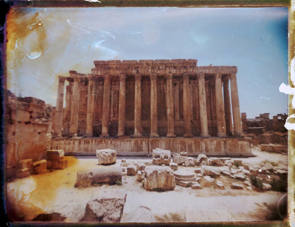 Ancient Roman ruins at Baalbek in Lebanon. Temple of Bacchus. Megaliths - Fine art Polaroid photography by Guðmundur Óli Pálmason kuggur.com