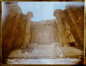 Ancient Roman ruins at Baalbek in Lebanon. Temple of Bacchus. Megaliths - Fine art Polaroid photography by Guðmundur Óli Pálmason kuggur.com