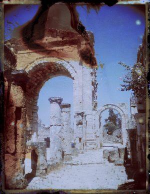 Ancient Roman ruins at Tyre Necropolis in Lebanon. Triumphal Arch. Megaliths - Fine art Polaroid photography by Guðmundur Óli Pálmason kuggur.com
