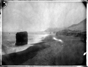 Stapi sea pillar on a black sand lava beach in Iceland- Fine art Polaroid photography by Guðmundur Óli Pálmason kuggur.com